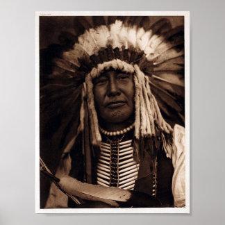Nativo americano do vintage, poster amarelo da cor
