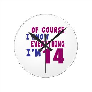 Naturalmente eu sei que tudo eu sou 14 relógio para parede