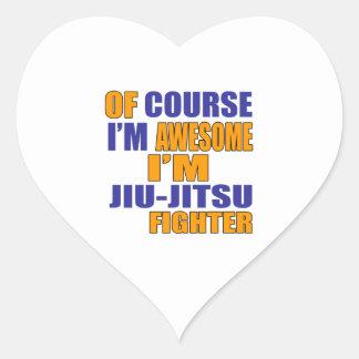 Naturalmente eu sou lutador de Jiu Jitsu Adesivo Coração