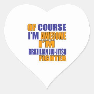 Naturalmente eu sou lutador de Jiu-Jitsu do Adesivo Coração