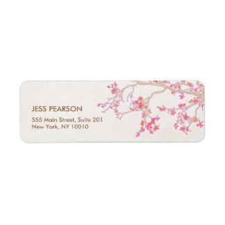Natureza floral das flores de cerejeira etiqueta endereço de retorno