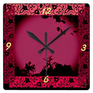 Natureza tropical relógio quadrado