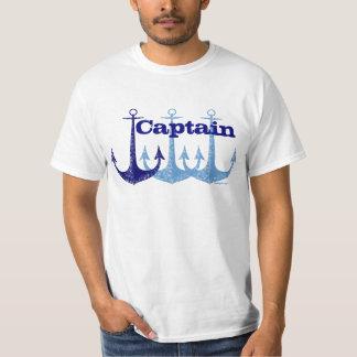 Náutico azul do capitão da âncora personalizado camiseta