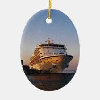 Navegador dos mares do forro sete ornamento de cerâmica oval