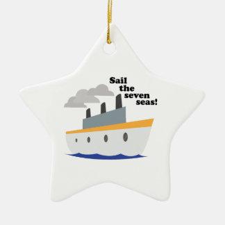 Navegue os sete mares! ornamento de cerâmica estrela