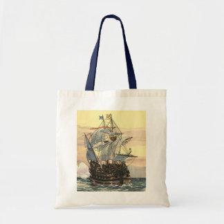 Navigação de Galleon do navio de pirata do vintage Sacola Tote Budget