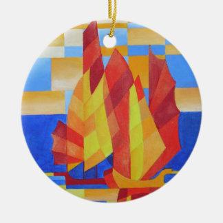 Navigação nos sete mares tão azuis ornamento de cerâmica redondo