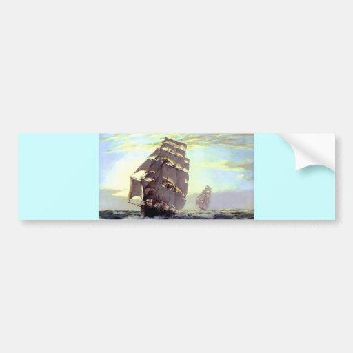 Navio da vela na pintura do mar adesivo