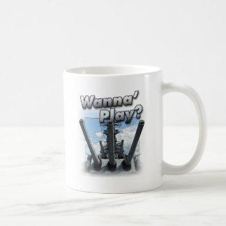 Navio de guerra - queira jogar? caneca de café