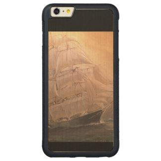 Navio de navigação do pirata capa bumper para iPhone 6 plus de carvalho, carved
