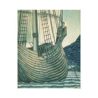 Navio de navigação do Santo Graal no oceano