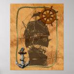 Navio de navigação histórico posters