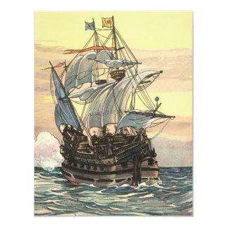 Navio de pirata do vintage, Galleon no convite do