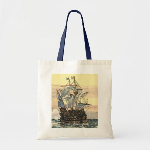 Navio de pirata Galleon do vintage que navega o oc Bolsas Para Compras