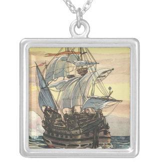 Navio de pirata Galleon do vintage que navega o oc Bijuterias