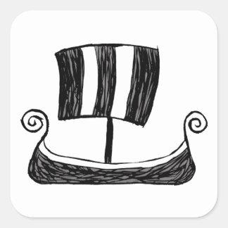 Navio de Viking Adesivo Quadrado