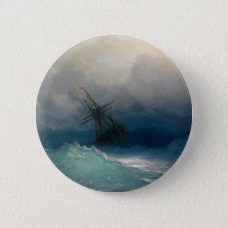Navio em mares tormentosos, Ivan Aivazovsky Bóton Redondo 5.08cm