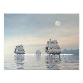 Navios antigos no oceano impressão de foto