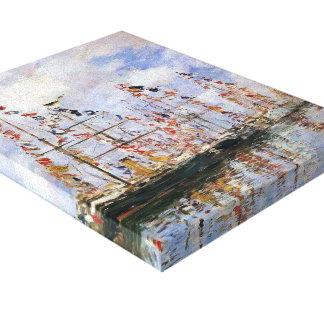 Navios de navigação de Eugene Boudin- em Deauville Impressão De Canvas Envolvida