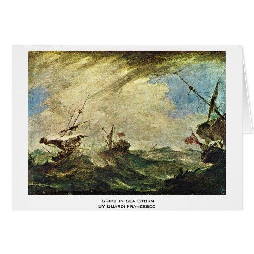 Navios na tempestade do mar por Guardi Francesco Cartão Comemorativo