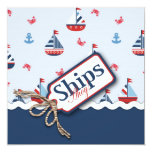 Navios náuticos azuis brancos vermelhos Ahoy! Chá Convites Personalizado