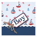 Navios náuticos azuis brancos vermelhos Ahoy! Chá  Convite Personalizados