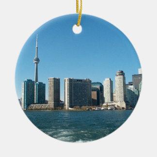 NC de CNTower+Divertimento do marco de Toronto o Ornamento De Cerâmica Redondo