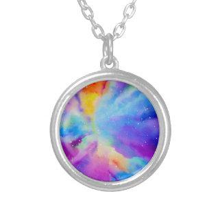 Nebulosa da aguarela colar banhado a prata