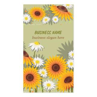 Negócio claro do fundo dos girassóis & das cartão de visita