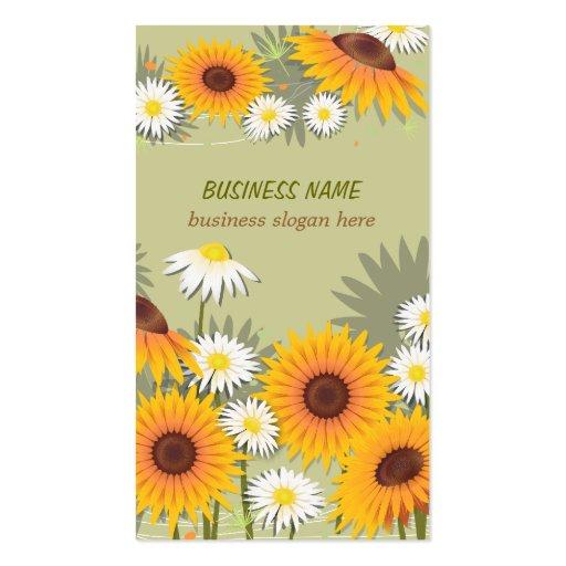 Negócio claro do fundo dos girassóis & das margari cartao de visita