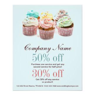 negócio colorido feminino da padaria dos cupcakes flyer 11.43 x 14.22cm