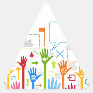 Negócio da mão adesivo triangular