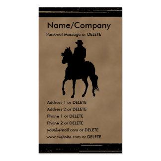 Negócio da silhueta do cavalo e do cavaleiro de Pa Cartoes De Visitas