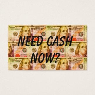negócio de empréstimo pessoal cartão de visitas