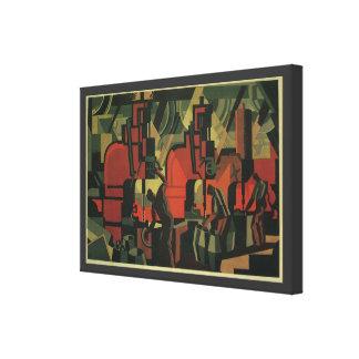 Negócio do art deco do vintage, trabalhadores de f impressão em tela canvas