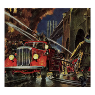Negócio do vintage, carros de bombeiros dos poster