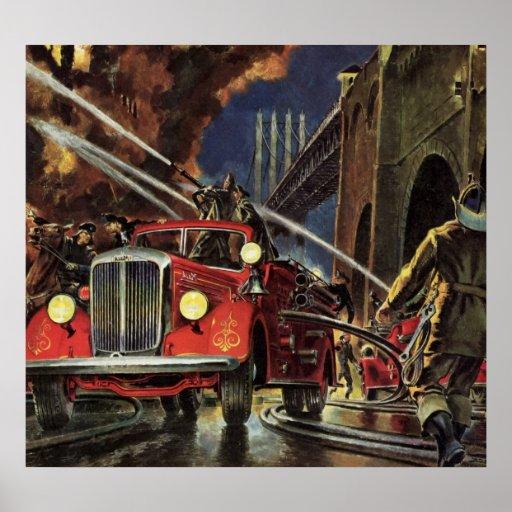 Negócio do vintage, carros de bombeiros dos sapado pôsteres