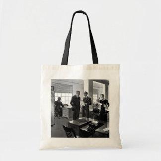 Negócio do vintage, cena do escritório com bolsa