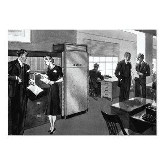Negócio do vintage, cena do escritório com convite 12.7 x 17.78cm