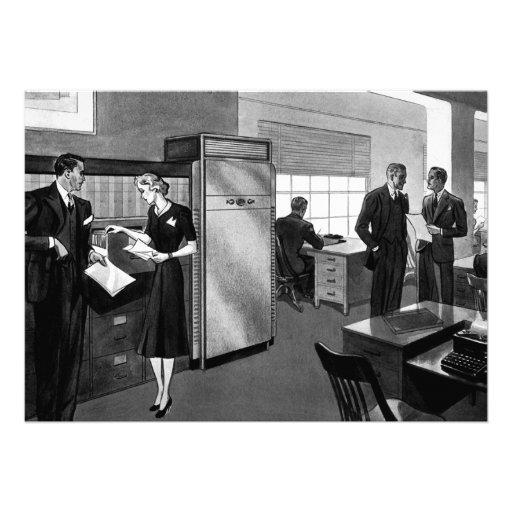 Negócio do vintage, cena do escritório com executi convite