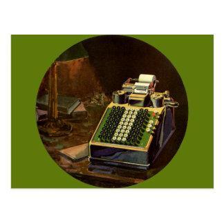 Negócio do vintage, contador, máquina de contabili cartoes postais