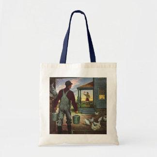 Negócio do vintage, fazendeiro que trabalha na bolsas de lona