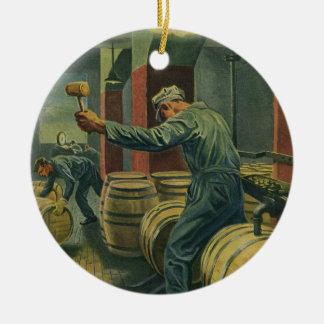 Negócio do vintage, fazer do vinho que arrolha ornamento de cerâmica redondo