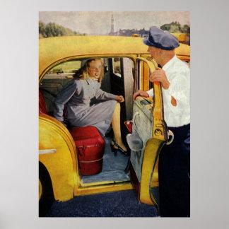 Negócio do vintage passageiro da fêmea do motoris pôsteres
