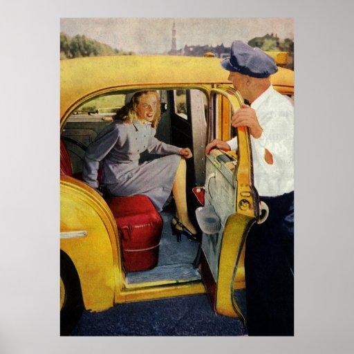 Negócio do vintage, passageiro da fêmea do motoris pôsteres
