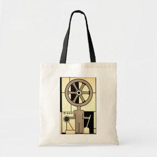 Negócio do vintage, rodas do trabalhador da máquin bolsa