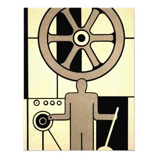 Negócio do vintage, rodas do trabalhador da máquin convite
