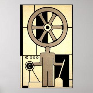 Negócio do vintage, rodas do trabalhador da máquin posteres