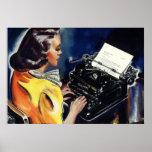Negócio do vintage, secretário Typing do Admin uma Pôsteres