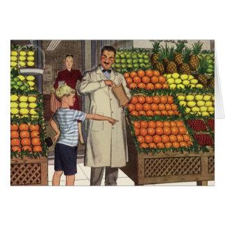 Negócio do vintage, suporte de fruta com cartão comemorativo